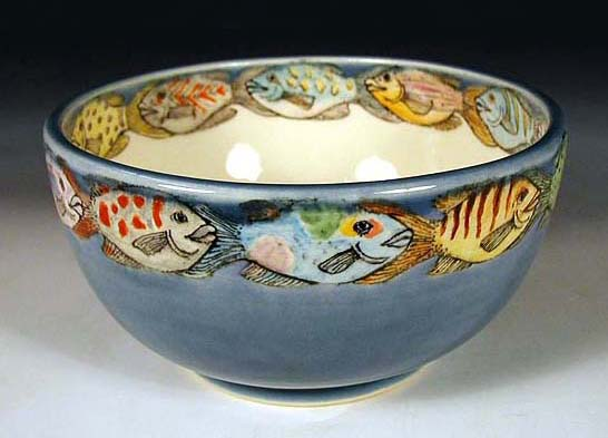 Hand painted pottery by nan hamilton in boston ma for Legal fish bowl