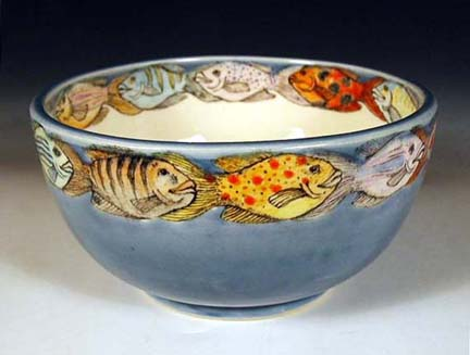 Hand painted pottery by nan hamilton in boston ma for Restaurants with fish bowl drinks near me